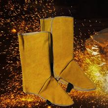 Leather Welding Spats Protective Shoes Feet Cover Protection Flame Resistant Boot for Welder