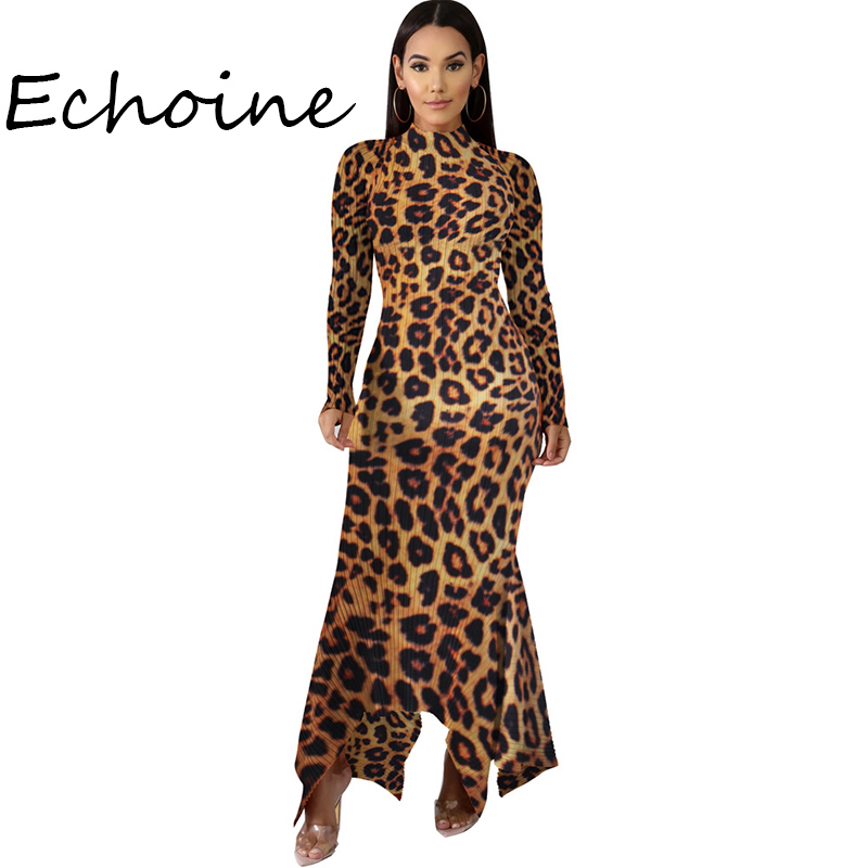Fashion Long Dress Multicolor Leopard Print Camouflage Long Sleeve O-neck Party Clubwear Bodycon Dress Vestidos
