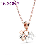 TOGORY Vintage Silver Happy Pendant Necklaces for Women Wedding Anniversary Fine Necklaces Jewelry Gift Hot Sale Choker(China)