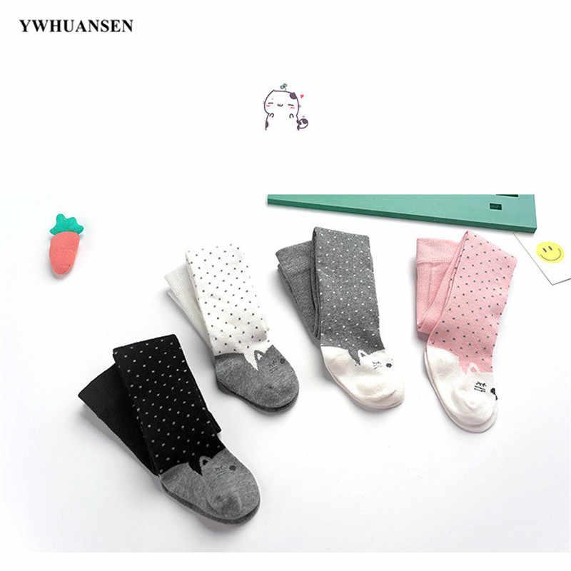 Ywhuansen 0 a 3 anos adorável gatinho collants para meninas do bebê dot criança crianças meia-calça de algodão macio gato crianças calças primavera