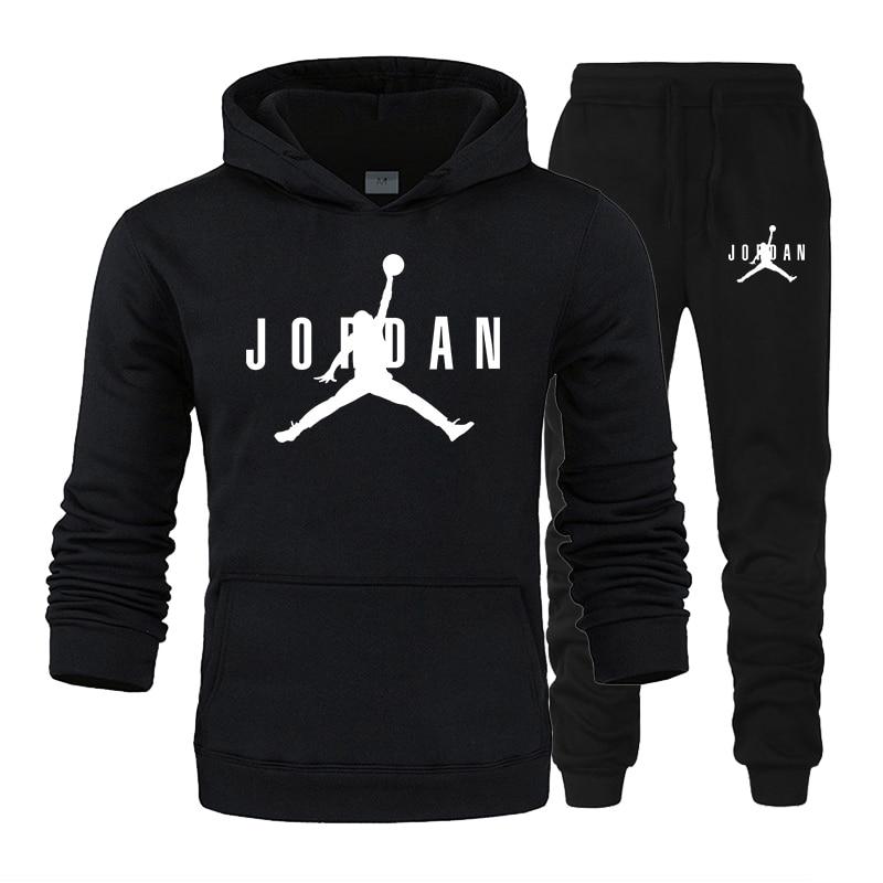 Hot Sale Autumn Winter Hot Sale Men's Sets Hoodie+pants 2 Pieces Sets Casual Tracksuit Male Sportswear Gyms Fitness Sweatpants