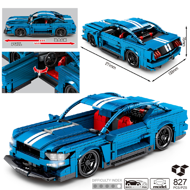 MOC 827pcs Classic Car City Pull Back Sports Car Building Block Model High-Tech Speed Roadster Kid Toy Assembled DIY Bricks Gift 1