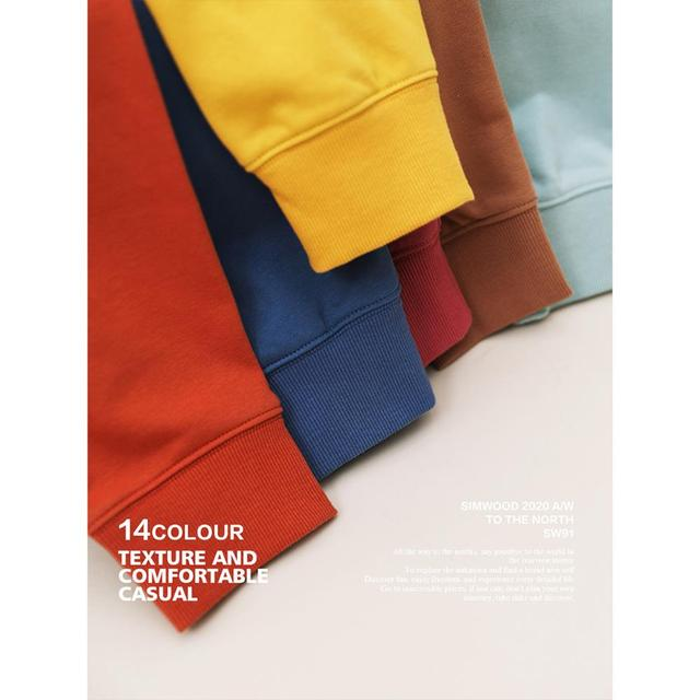 SIMWOOD 2021 Autumn New Hoodies Men Casual Minimalist Sweatshirt O-Neck Embroidery Logo Plus Size Basic Pullover  SI980547 4