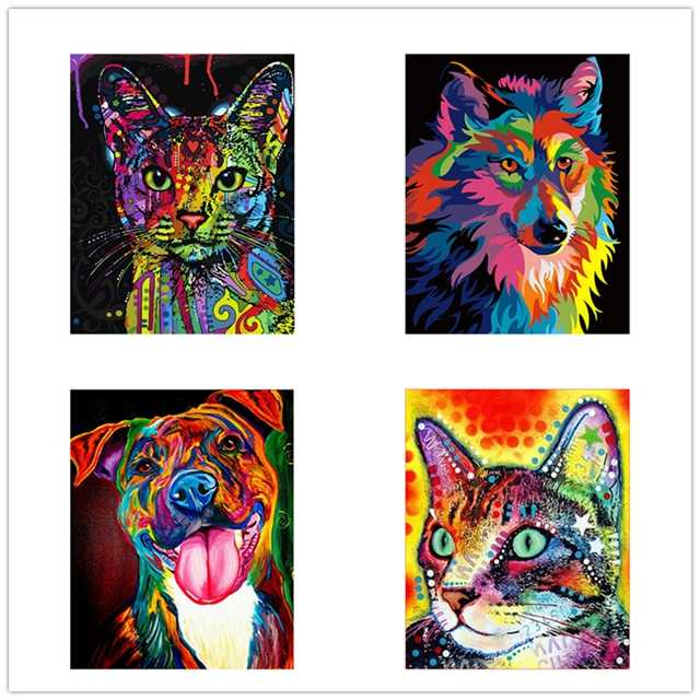NEW DIY Framed Wolf Cat Dog Oil Painting By Numbers Animal Anime Colorful Paint Wall Art Picture for Living Room Home Decor