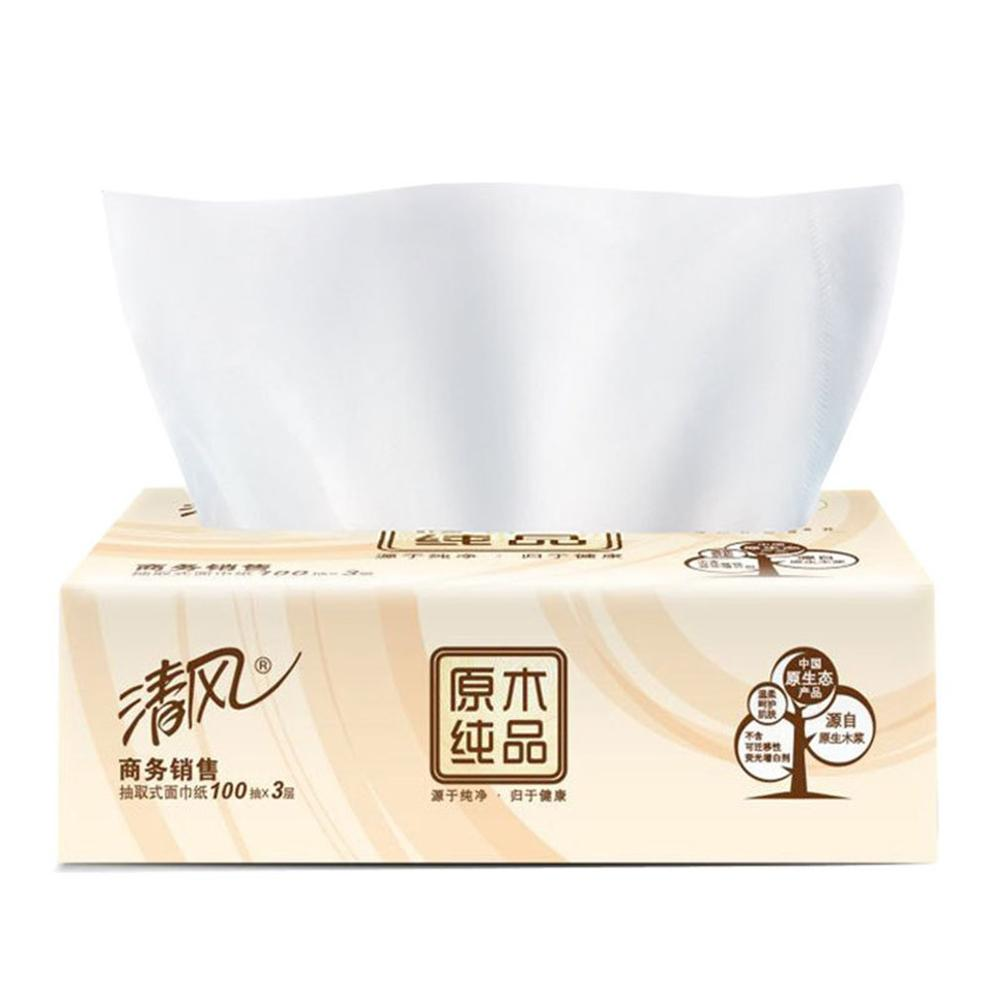 100 Pumping 3 Layers Tissue Paper Primary Wood Pulp Pumping Paper  Toilet Paper Pumping Napkin Paper 4 Pieces