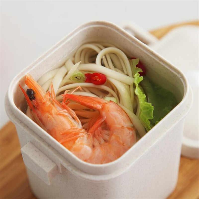 Многоцветная пшеничная соломенная чашка для супа против скальдинга микроволновая печь квадратная пряжка герметичный резервуар для супа кухонная посуда
