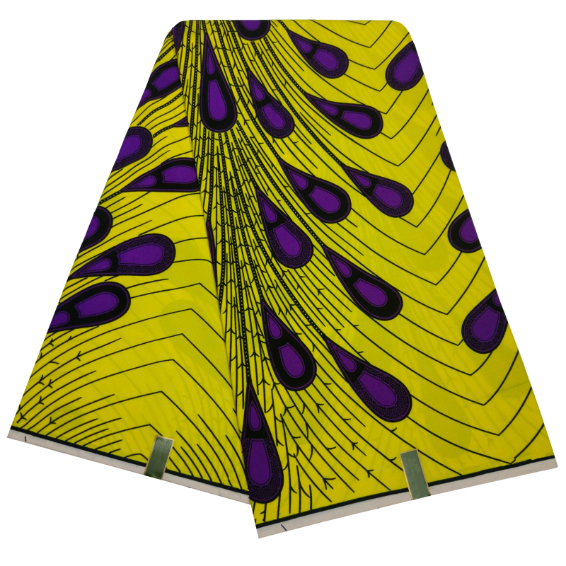 Ankara DIY Fabrics African Real Wax Purple Peacock Feather Print 6 Yards/Piece Yellow Polyester Tissu Textiles For Lady