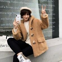 adohon 2019 Women Coat Casual outerwear winter clothing Ladies fashion warm woolen Long Jacket Hooded female elegant Horn Button longline horn button woolen coat