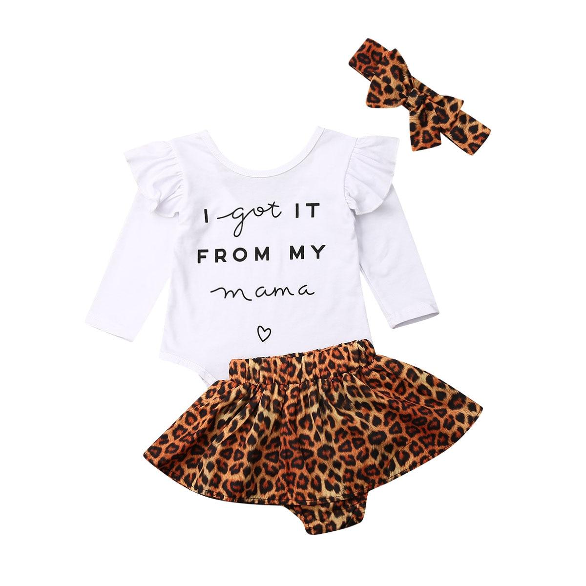 Nouveau chaud enfant en bas âge enfants vêtements ensemble bébé filles lettre hauts léopard jupe anniversaire tenues ensemble vetement enfant fille
