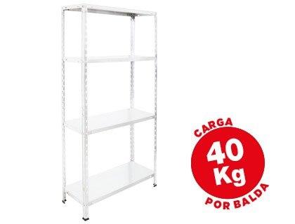 SHELF METALICA AR STORAGE 150X75X30 CM 4 SHELVES 40 KG FOR SHELF WHITE COLOR