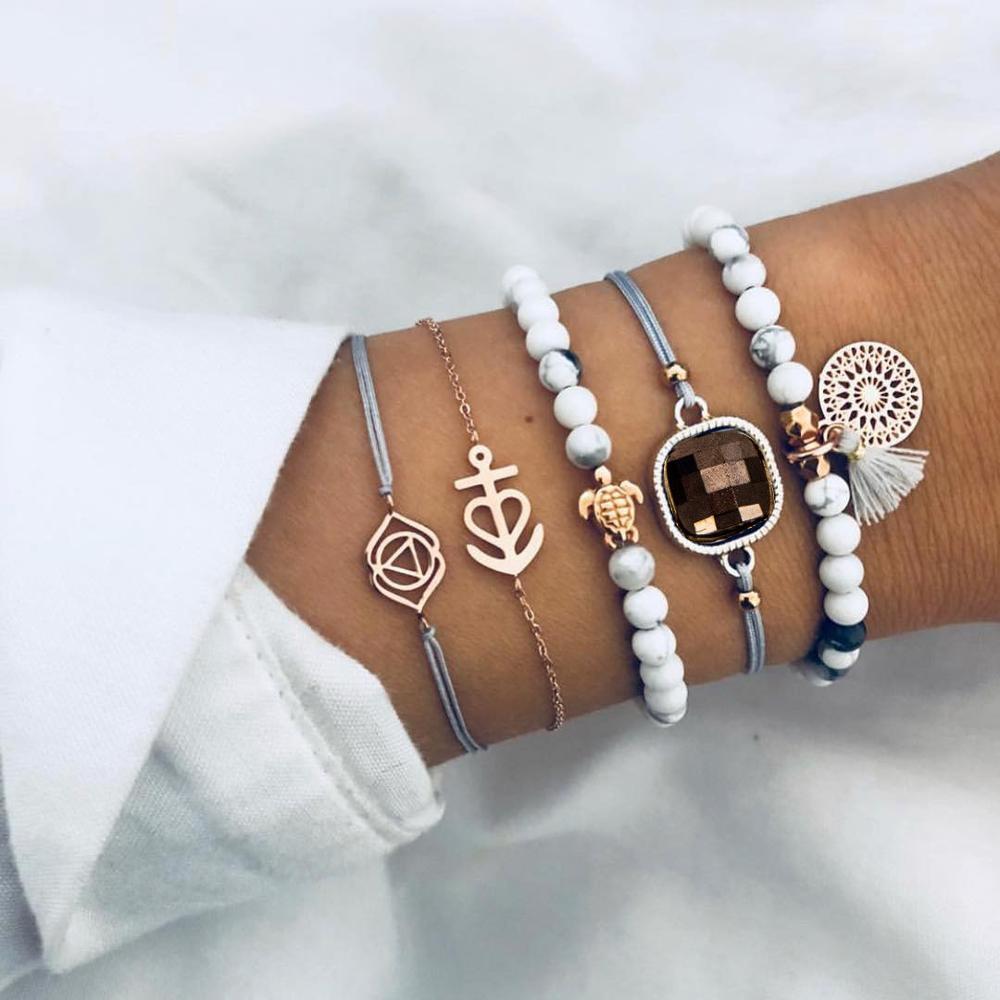 DIEZI Drop Shipping Different Style Elephant Tree Of Life Tassel Chain Bracelet Sets For Women Beaded Bracelets Bangles Jewelry