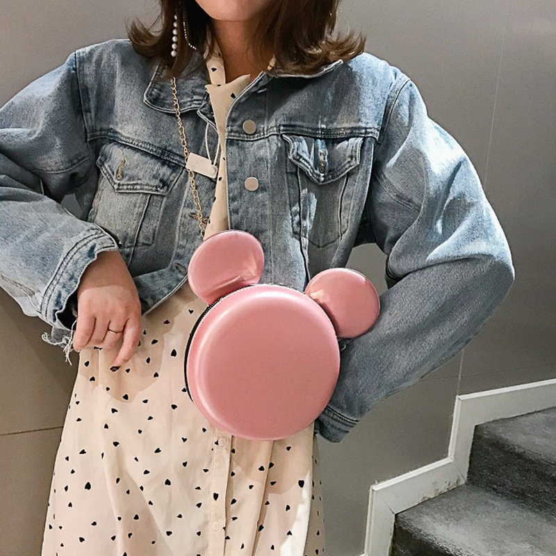 Disney Diaper Bag Princess Lady Bag Shoulder Women Pu Fashion Bag Messenger Mickey Mouse Cute Round Bag Minnie