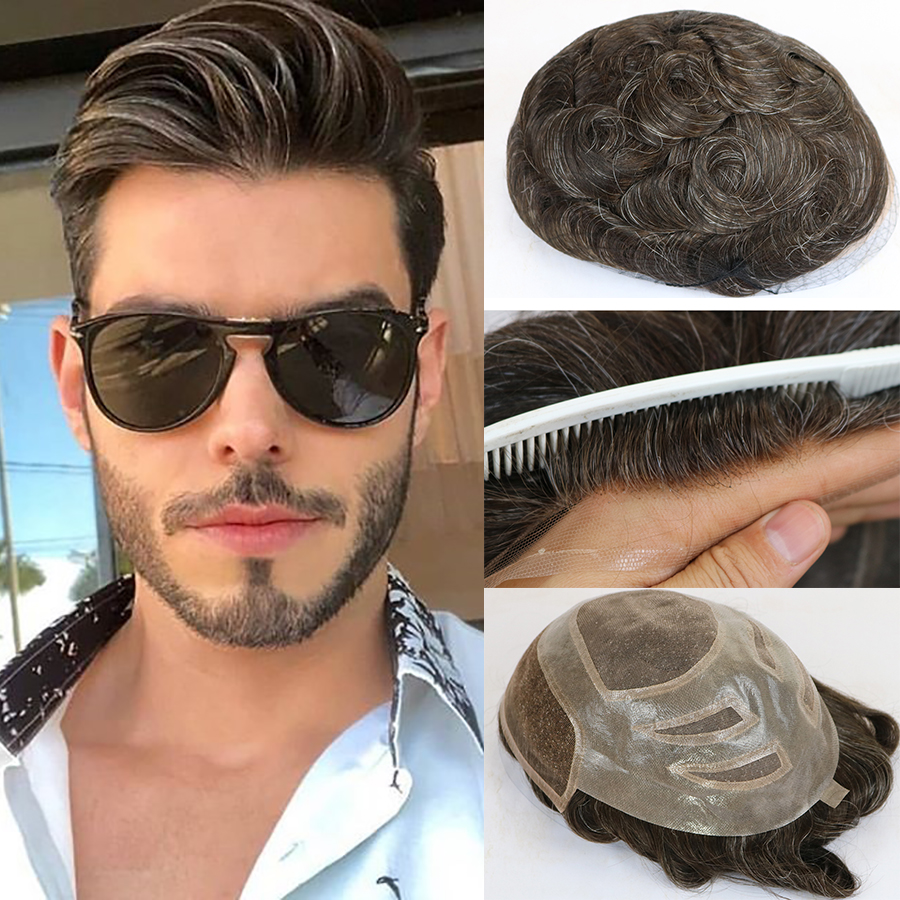 Mens Toupee Wigs Hairpieces Hair-Replacement-System Human-Hair Lace-Front French Natural