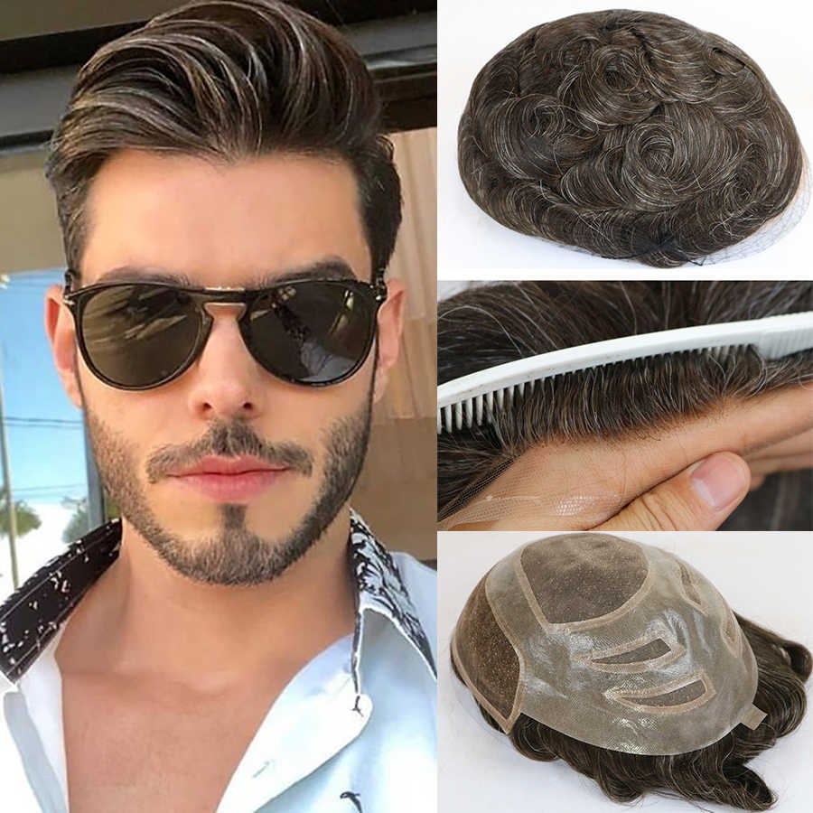 Natural Human Hair Mens Toupee French Lace Front Hair Replacement System Fine Mono Hairpieces Wigs for Men