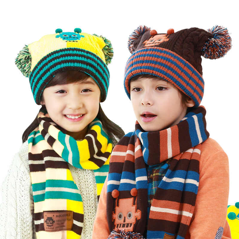 Kids knitted Scarf And Hat Set Cartoon Robot Children Winter Warm Crochet Hats And Scarves With Pom Beanie for Boys And Girls