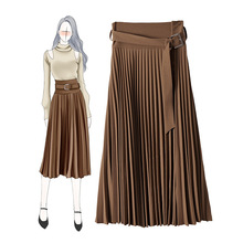 Europe&America women high quality pleated skirts 2019 Fall/winter elegant belt Skirt B010