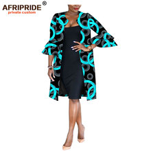 Afripride Ankara Print Jacket for Women Tailor Made Flare Sleeves Knee Length Women Casual Jacket  A1824007