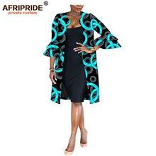 Afripride אנקרה הדפסת מעיל לנשים תפורים אבוקה שרוולי ברך אורך נשים מזדמן מעיל A1824007