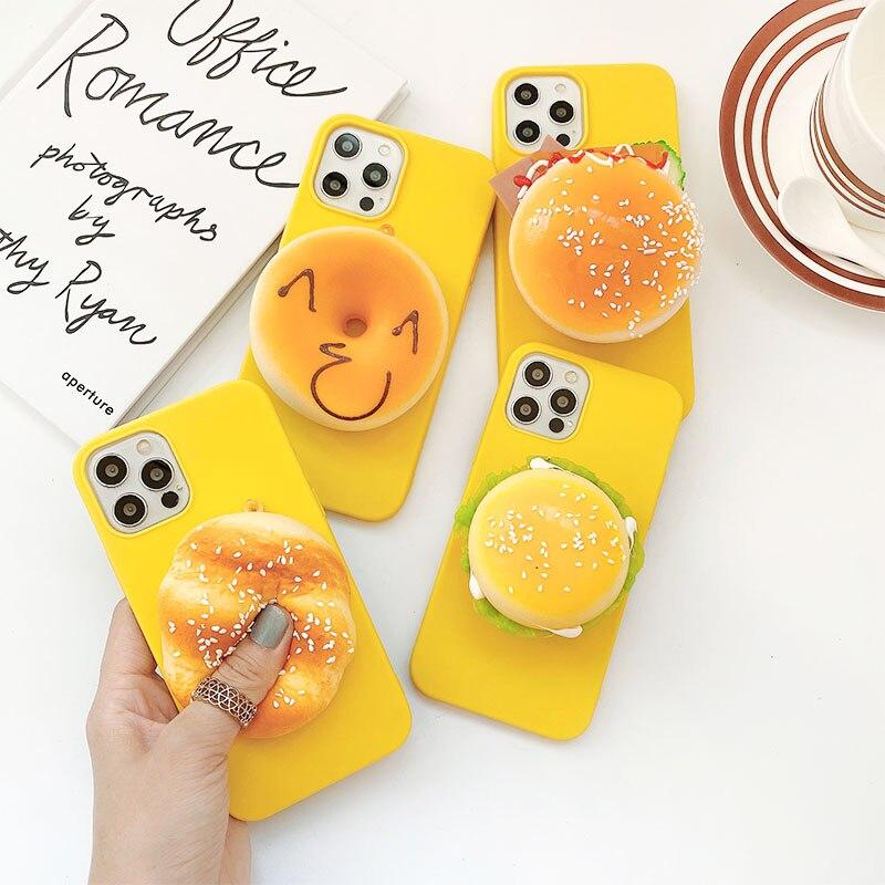 3D Funny Yummy Food Hamburger Sandwich Donuts Case For Iphone 12Mini 11 Pro Max 5 6 7 8 Plus XR XSMAX SE2020 Soft Silicone Cov