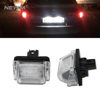 цена на 2PCS Xenon white LED License Number Plate Lamp Light for Mazda5 Mazda 5 CX-5 CX5 2012-2018 CX-9 CX9 07-18 White Rear Tag Lamps