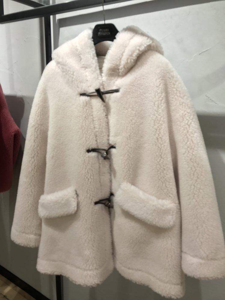 Осень зима 2019, женские корейские колледжа, шерсть, крупные частицы, овечья шерсть, шапка, угловая пуговица, пальто ежедневный пиджак - 5