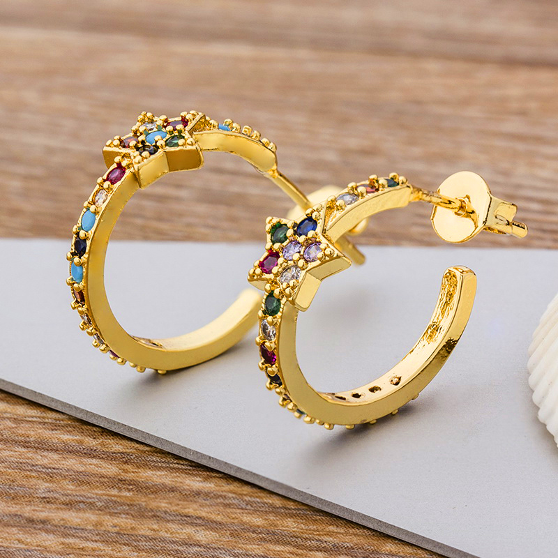 High Quality Dainty Gold Color Stud Earrings Copper Rainbow Cubic Zirconia Micro Paved Star Circle Earrings For Her Jewelry Gift