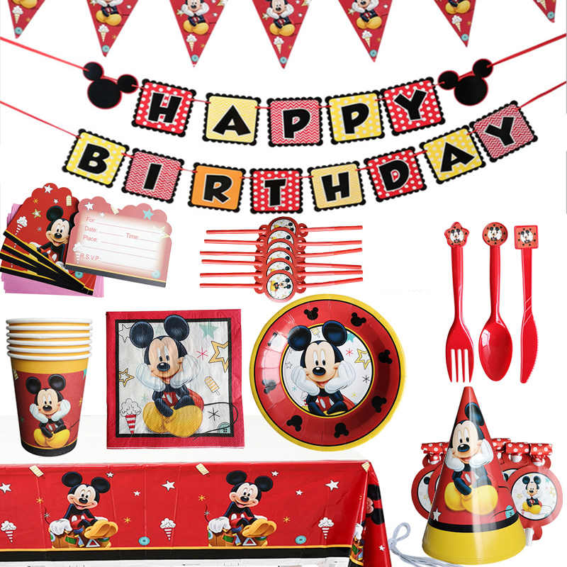 Mickey Mouse Children's Theme Birthday Party Arrangement Decorative Paper Cup Draw Flag Tablecloth Disposable Party Supplies