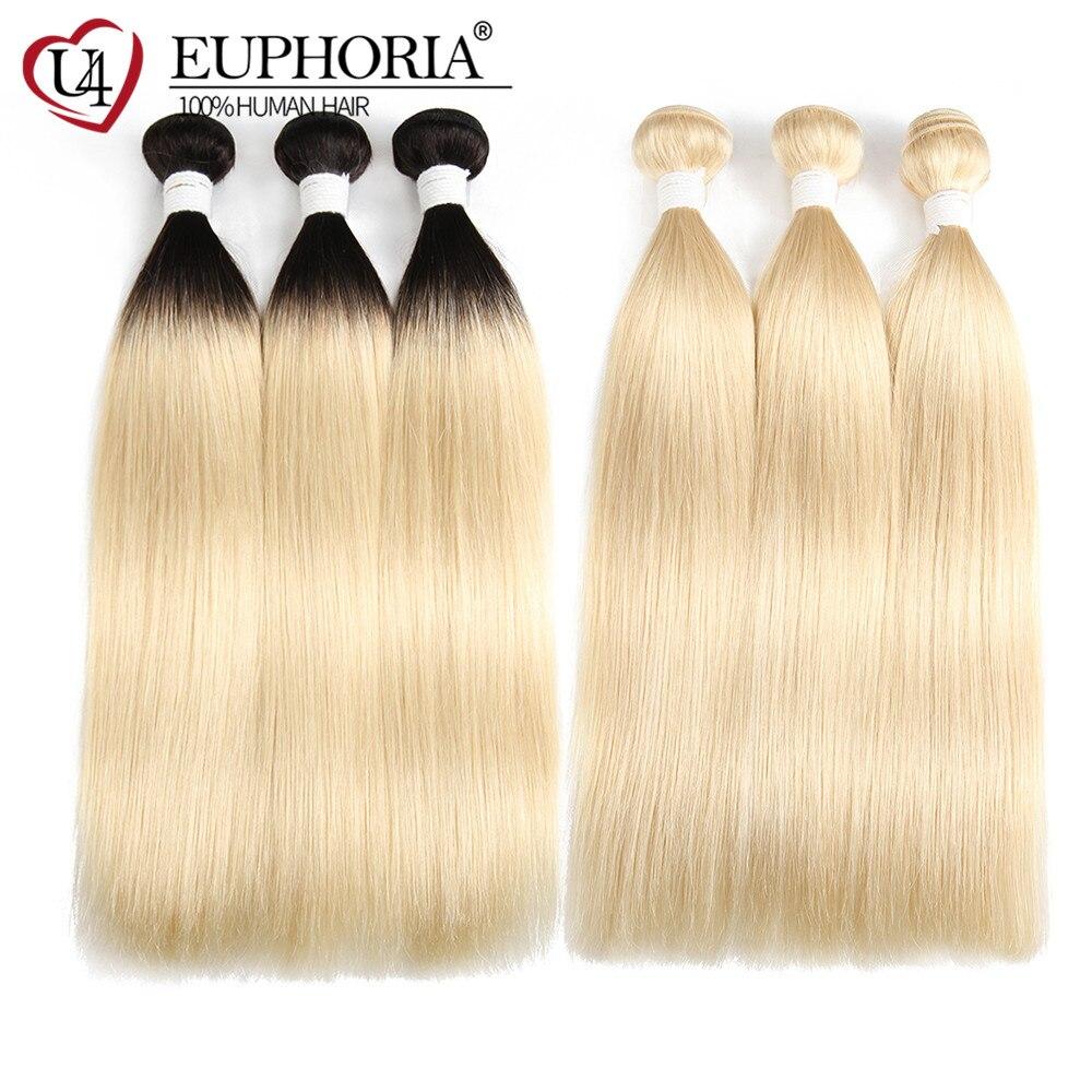 Ombre Blonde Straight Hair 3 Bundles Deal Ombre Platinum Blonde 1B 613 Brazilian Remy Hair 1/3/4 Bundle Weave Extension EUPHORIA
