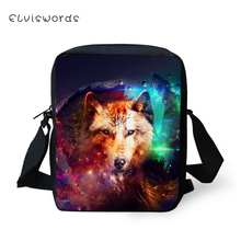 ELVISWORDS Fashion Womens Messenger Bags Cool Wolf Prints Pattern Girls Cross Body Cartoon Animal Mini Flaps Purse