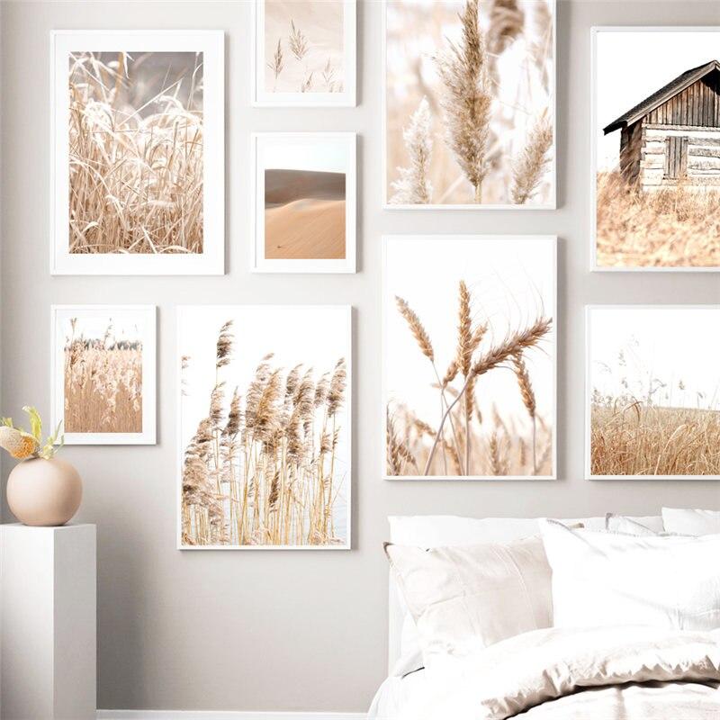 Картина с растительным пейзажем, пейзаж, настенная живопись на холсте, минималистичные современные скандинавские постеры и принты для домашнего декора|Рисование и каллиграфия|   | АлиЭкспресс