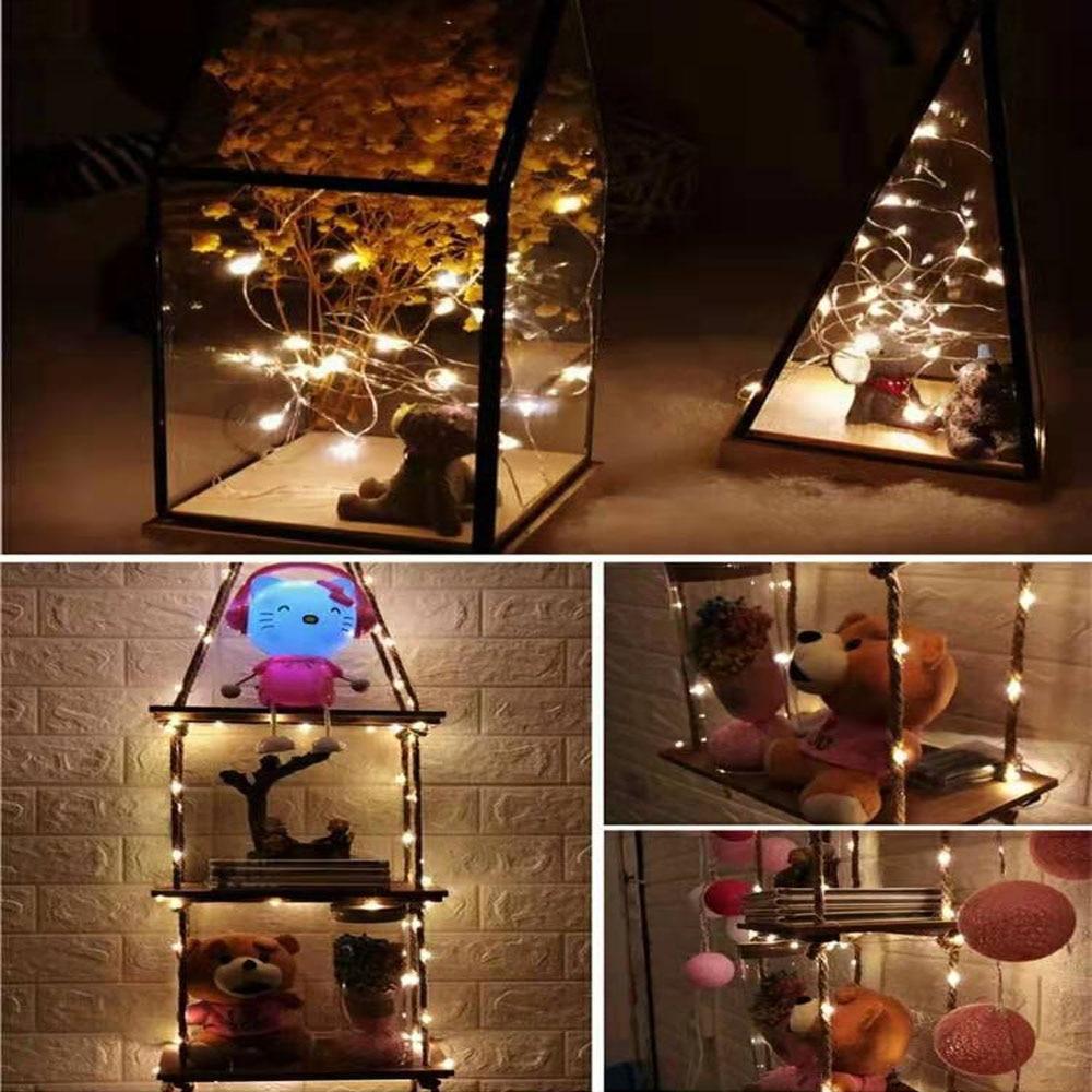 1/2/5/10 M Медный провод светодиодные огни строки праздник освещение гирляндой Рождественский венок для год свадебная вечеринка украшения