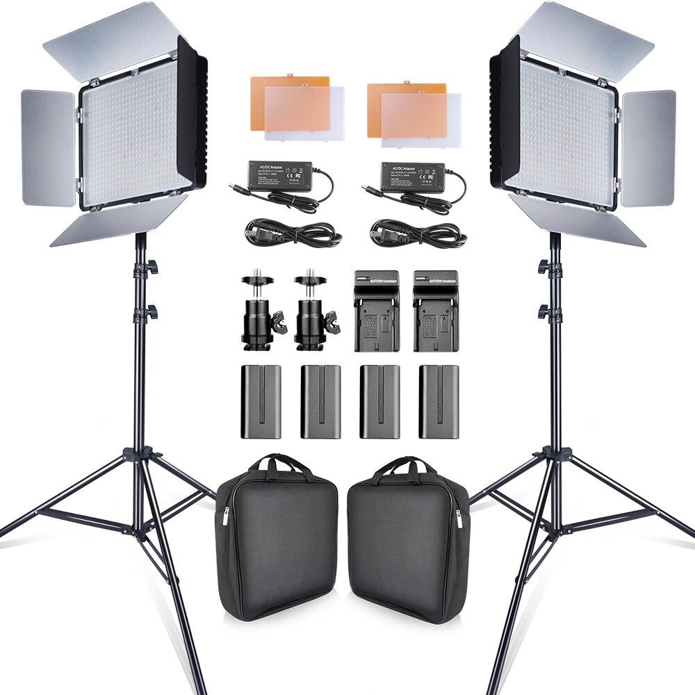 Travor Video-Light-Kit Tripod Batteries Studio-Camera Youtube NP-F550 Led CRI93 2set