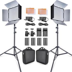 Travor 2set 600pcs studio camera photo light 3200K/5500K CRI93  led video light kit with 2m tripod and NP-F550 batteries youtube