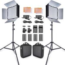 Travor 2set 600 stücke studio kamera foto licht 3200K/5500K CRI93 led video licht kit mit 2m stativ und NP F550 batterien youtube