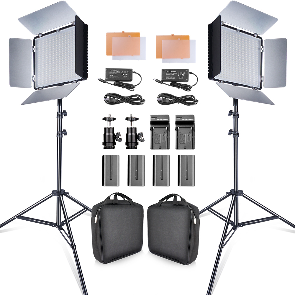 Hot DealsTravor Video-Light-Kit Tripod Batteries Studio-Camera Youtube 3200K/5500K CRI93 2set
