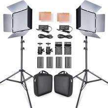 Travor 2 conjunto 600pcs estúdio câmera foto luz 3200k/5500k cri93 led kit de luz vídeo com 2m tripé e NP-F550 baterias youtube