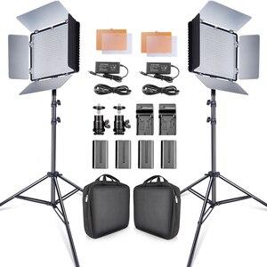 Image 1 - Travor 2set 600pcs studio camera photo light 3200K/5500K CRI93  led video light kit with 2m tripod and NP F550 batteries youtube