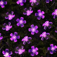 Guirnalda de flores de cerezo alimentada por batería, guirnaldas de luces LED, flores de cristal para interiores, adornos de Navidad para bodas, púrpura