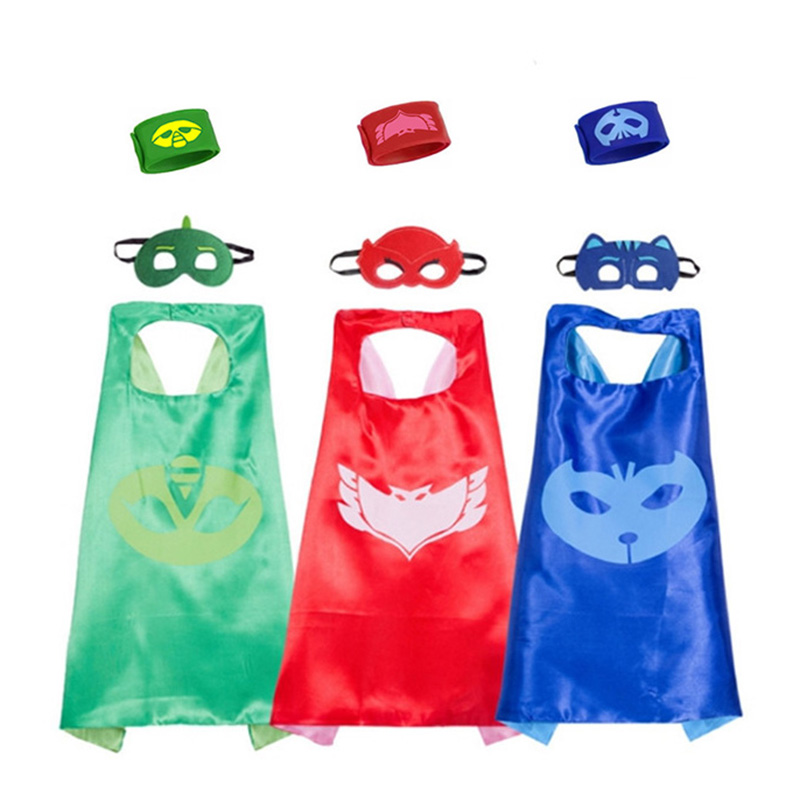 Pj Masks Cloak Mask Wristband Combination Anime Doll Toy Bracelet Christmas Halloween Birthday Party Cosplay Boy Girl Gift