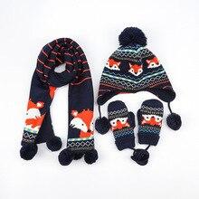 Детские зимние штаны хлопковые шапки и шарфа комплект вязаные пижамы с рисунками Кепки дети теплый шарф для мальчиков шапочки Шапки шарф для девочек и мальчиков 3 шт./компл