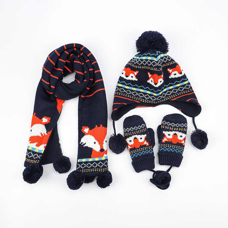 Baby Kids Winter Cotton Hat Scarf Set Cartoon Knit Cap Children Warm Scarf For Boys Beanies Hats Scarf For Girl Boy 3pcs/Set