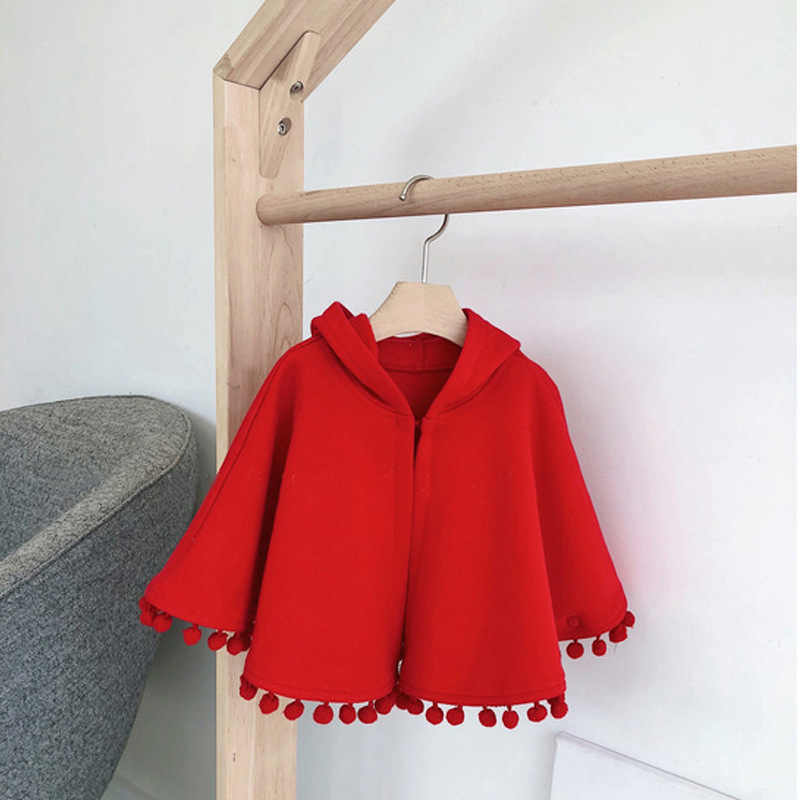 2020 New Fashion Fall Winter Meisje Kind Rode Hooded Cape Mantel Vest Kind Baby