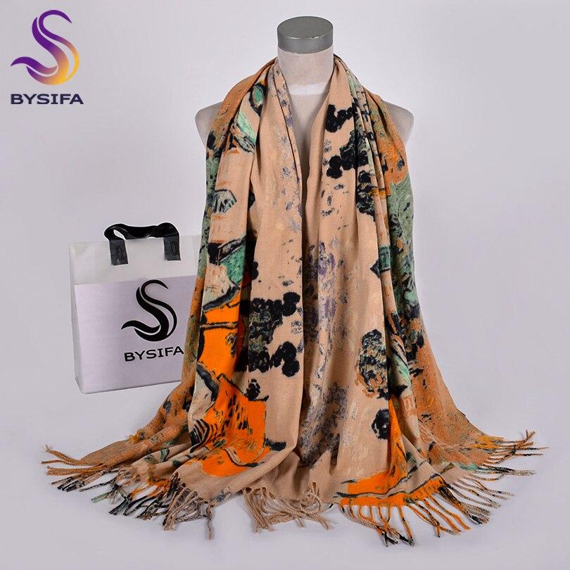 [BYSIFA] New Winter Scarves Shawl For Women Fashion Khaki Warm Shawls And Wraps Lady Pashmina Long Cashmere Head Scarf Hjabs
