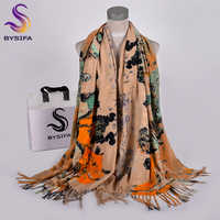 [BYSIFA] New Winter Scarves Shawl For Women Fashion Khaki Warm shawls and wraps lady pashmina Long Cashmere Head Scarf Hjabs