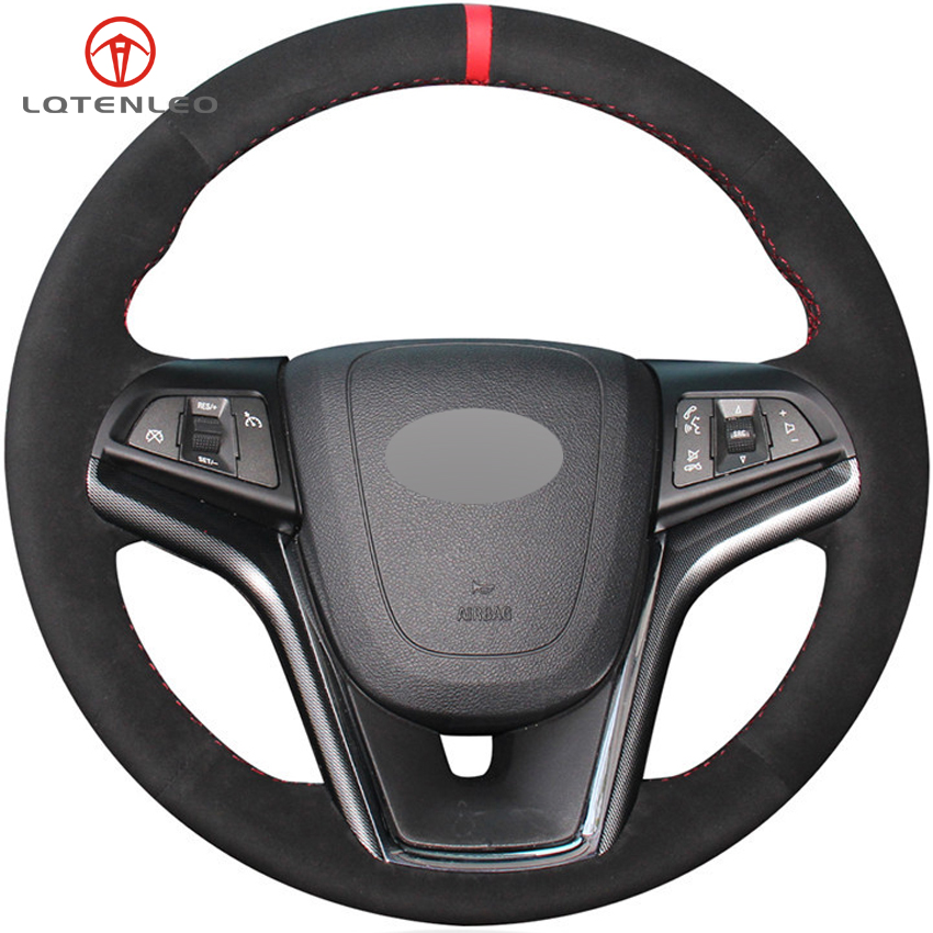 LQTENLEO Black Suede Car Steering Wheel Cover For Chevrolet Malibu 2011-2018 Volt Camaro 2011-2015 <font><b>Aveo</b></font> 2016-2018 Sonic 2012 image