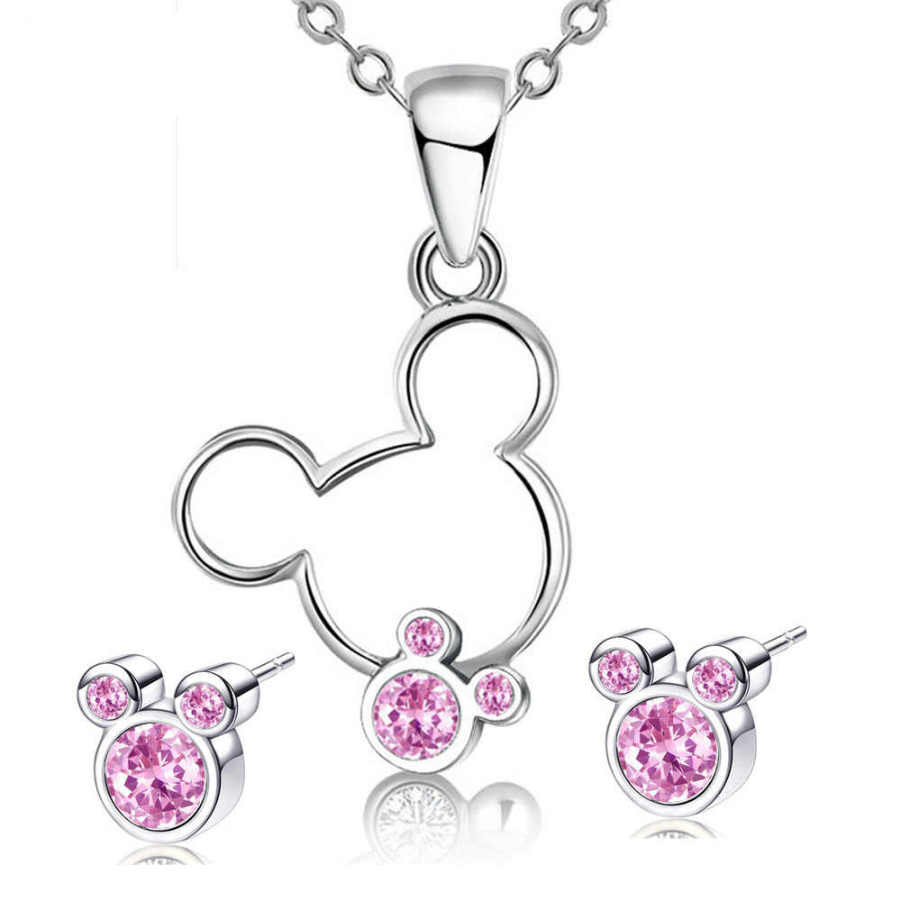 Cartoon Maus Halskette Ohrring Set Kreative Tier Nette Mickey Ohrring Halskette Kombination Schmuck