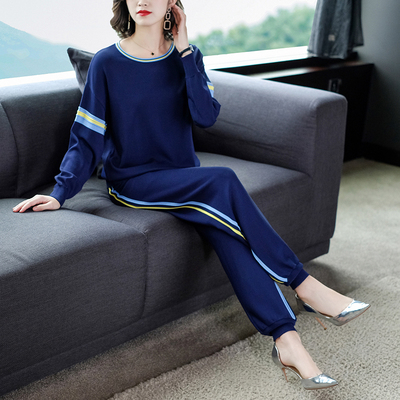 Ice Silk Knitted Tracksuit Sportswear Knit Pants 2 Piece Sets For Women Casual Womens Matching Set Two Piece Outfits Top+pants