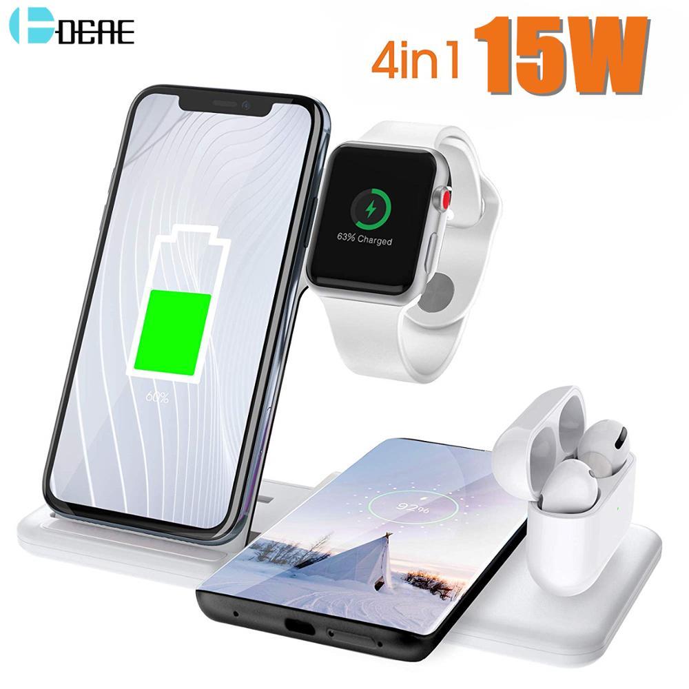 4 в 1 зарядная док станция для Apple Watch iPhone X XS XR 8 11 Samsung S20 S10 Airpods Pro 15 Вт Qi быстрая Беспроводная подставка для зарядного устройства Беспроводные зарядные устройства      АлиЭкспресс