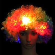 Светящийся головной убор шляпа взрывчатка голова парик светодиод вспышка головной убор клоун парик вентиляторы принадлежности взрослый вечеринка представление многоцветный