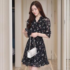 Image 3 - Plus Size Summer Vintage Chiffon Floral Boho Shirt Dress 2020 Korean Elegant Women Party Mini Dresses Casual Sun Beach Vestidos